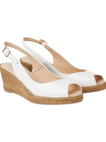 Slingback Espadrille, White - predominant colour: white; occasions: casual, evening, work, holiday; material: leather; heel height: mid; ankle detail: ankle strap; heel: wedge; toe: open toe/peeptoe; style: slingbacks; finish: patent; pattern: plain