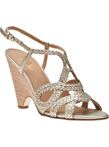 Aspen Sandal - predominant colour: gold; occasions: evening, occasion, holiday; material: leather; heel height: high; heel: cone; toe: open toe/peeptoe; style: strappy; trends: metallics; finish: metallic; pattern: plain