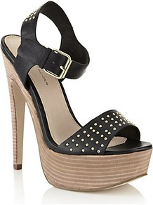 Martini Platform Sandal Black - predominant colour: black; occasions: evening, holiday; material: leather; heel height: high; embellishment: studs; ankle detail: ankle strap; heel: platform; toe: open toe/peeptoe; style: standard; finish: plain; pattern: plain