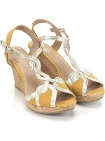 Tiger Lily Wedge - predominant colour: mustard; occasions: casual, evening, holiday; material: leather; heel height: high; ankle detail: ankle strap; heel: wedge; toe: open toe/peeptoe; style: strappy; finish: metallic; pattern: plain