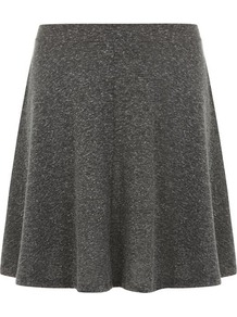 Grey Neppy Skater Skirt - length: mid thigh; pattern: plain; fit: loose/voluminous; waist detail: fitted waist; waist: mid/regular rise; predominant colour: charcoal; occasions: casual; style: a-line; fibres: viscose/rayon - stretch; hip detail: soft pleats at hip/draping at hip/flared at hip; pattern type: fabric; texture group: jersey - stretchy/drapey