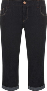Indigo Crop Jeans - style: skinny leg; pattern: plain; pocket detail: traditional 5 pocket; waist: mid/regular rise; predominant colour: navy; occasions: casual; length: calf length; fibres: cotton - stretch; jeans detail: dark wash; jeans & bottoms detail: turn ups; texture group: denim; pattern type: fabric