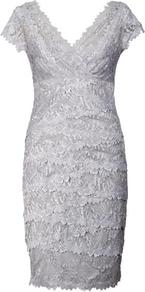 Silver Lace Layered Dress - style: shift; neckline: v-neck; sleeve style: capped; fit: tailored/fitted; pattern: plain; waist detail: fitted waist; hip detail: fitted at hip; predominant colour: silver; occasions: evening, occasion; length: just above the knee; fibres: polyester/polyamide - 100%; sleeve length: short sleeve; texture group: lace; pattern type: fabric; pattern size: small &amp; light