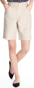 Stone Microfibre Short - pattern: plain; style: shorts; waist: high rise; length: mid thigh shorts; predominant colour: stone; occasions: casual, holiday; fibres: polyester/polyamide - 100%; texture group: cotton feel fabrics; fit: straight leg; pattern type: fabric; pattern size: standard