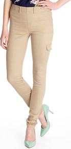 Almond Combat Jegging - length: standard; pattern: plain; waist: mid/regular rise; style: cargo; predominant colour: stone; occasions: casual, evening; fibres: cotton - stretch; hip detail: fitted at hip (bottoms); texture group: denim; fit: skinny/tight leg; pattern type: fabric; pattern size: standard