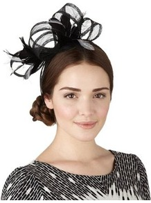 Faux Feather & Mesh Large Bow Headband - predominant colour: black; occasions: occasion; style: fascinator; size: standard; material: macrame/raffia/straw; embellishment: feather; pattern: plain