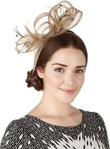 Faux Feather &amp; Mesh Large Bow Headband - predominant colour: taupe; occasions: evening, occasion; style: fascinator; size: standard; material: macrame/raffia/straw; embellishment: feather; pattern: plain