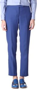 Tapered Trousers - pattern: plain; waist: mid/regular rise; predominant colour: denim; occasions: casual, work; length: ankle length; fibres: cotton - mix; fit: straight leg; pattern type: fabric; pattern size: standard; texture group: other - light to midweight; style: standard