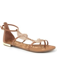 Tyra Leather Sandals - predominant colour: tan; occasions: casual, evening, holiday; material: leather; heel height: flat; ankle detail: ankle strap; heel: standard; toe: open toe/peeptoe; style: gladiators; finish: plain; pattern: plain; embellishment: chain/metal