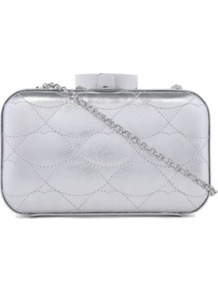 Fifi Quilted Lips Clutch - predominant colour: silver; occasions: evening, occasion; type of pattern: standard; style: clutch; length: shoulder (tucks under arm); size: small; material: leather; embellishment: quilted; pattern: plain; trends: metallics; finish: metallic