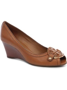 Amanda Peep Toe Wedge - predominant colour: tan; occasions: casual, work, holiday; material: leather; heel height: mid; heel: wedge; toe: open toe/peeptoe; style: courts; finish: plain; pattern: plain; embellishment: applique