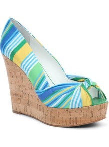 Chillpill2 Cork Peep Toe Wedges - predominant colour: yellow; occasions: casual, holiday; material: fabric; heel height: high; heel: wedge; toe: open toe/peeptoe; style: courts; trends: striking stripes; finish: plain; pattern: striped