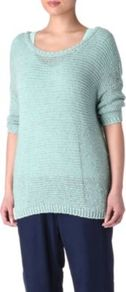 Uma Slouchy Jumper - neckline: round neck; pattern: plain; length: below the bottom; style: standard; predominant colour: pale blue; occasions: casual; fibres: cotton - 100%; fit: loose; sleeve length: 3/4 length; sleeve style: standard; texture group: knits/crochet; pattern type: knitted - big stitch