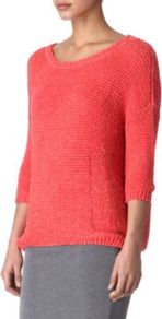 Uma Slouchy Jumper - neckline: round neck; pattern: plain; style: standard; predominant colour: coral; occasions: casual; length: standard; fibres: cotton - 100%; fit: loose; sleeve length: 3/4 length; sleeve style: standard; texture group: knits/crochet; pattern type: knitted - other