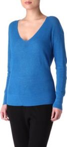 Nevada Knitted Jumper - neckline: low v-neck; pattern: plain; style: standard; predominant colour: royal blue; occasions: casual; length: standard; fibres: cotton - mix; fit: standard fit; sleeve length: long sleeve; sleeve style: standard; texture group: knits/crochet; pattern type: knitted - other