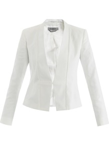 Vezzoso Jacket - pattern: plain; style: single breasted blazer; collar: shawl/waterfall; length: cropped; predominant colour: white; occasions: evening, work, occasion; fit: tailored/fitted; fibres: cotton - 100%; sleeve length: long sleeve; sleeve style: standard; trends: tuxedo; collar break: medium; pattern type: fabric; pattern size: standard; texture group: woven light midweight
