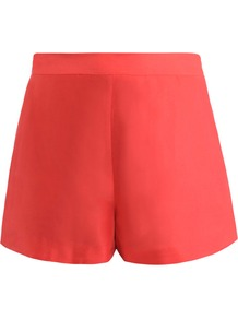 Mele Douppioni Shorts - pattern: plain; style: shorts; length: short shorts; waist: mid/regular rise; predominant colour: true red; occasions: casual, evening, holiday; fibres: silk - 100%; waist detail: narrow waistband; texture group: structured shiny - satin/tafetta/silk etc.; fit: straight leg; pattern type: fabric; pattern size: standard