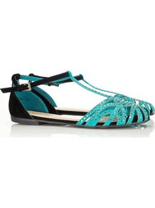 Green Diamante Sandal - predominant colour: turquoise; occasions: casual, evening, occasion, holiday; material: faux leather; heel height: flat; embellishment: crystals; ankle detail: ankle strap; heel: standard; toe: open toe/peeptoe; style: strappy; finish: plain; pattern: plain