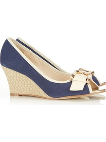 Navy Peep Toe Shoe - predominant colour: navy; occasions: casual, work, holiday; material: fabric; heel height: high; embellishment: buckles; heel: wedge; toe: open toe/peeptoe; style: courts; finish: plain; pattern: plain