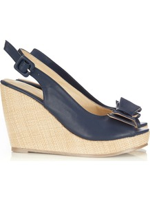 Navy Peep Toe Sandal - predominant colour: navy; occasions: casual, evening, holiday; material: faux leather; heel height: high; ankle detail: ankle strap; heel: wedge; toe: open toe/peeptoe; style: standard; finish: plain; pattern: plain; embellishment: bow