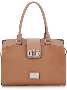 Nude Tote Bag - predominant colour: camel; occasions: casual, work; type of pattern: standard; style: tote; length: handle; size: standard; material: faux leather; pattern: plain; finish: patent