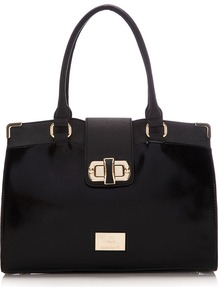 Black Tote Bag - predominant colour: black; occasions: casual, work; type of pattern: standard; style: tote; length: handle; size: standard; material: fabric; pattern: plain; finish: plain
