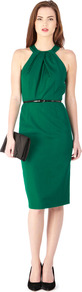 Loula Dress - style: shift; neckline: round neck; fit: tailored/fitted; pattern: plain; sleeve style: sleeveless; back detail: low cut/open back; waist detail: belted waist/tie at waist/drawstring; predominant colour: emerald green; occasions: evening, occasion; length: on the knee; fibres: polyester/polyamide - 100%; sleeve length: sleeveless; texture group: crepes; bust detail: tiers/frills/bulky drapes/pleats; pattern type: fabric