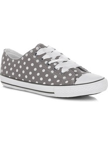 Grey Spotty Lace Up Casual Shoes - predominant colour: mid grey; occasions: casual; material: fabric; heel height: flat; toe: round toe; style: trainers; finish: plain; pattern: polka dot