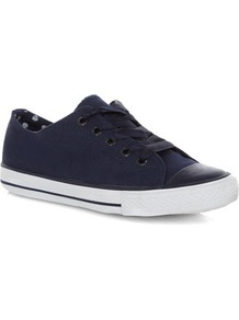 Navy Lace Up Casual Shoes - predominant colour: navy; occasions: casual; material: fabric; heel height: flat; toe: round toe; style: trainers; finish: plain; pattern: plain