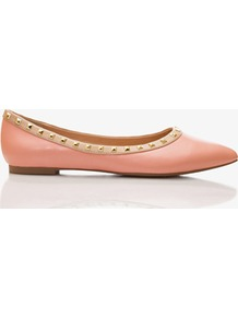 Studded Faux Leather Flats - predominant colour: pink; occasions: casual, evening, work, holiday; material: faux leather; heel height: flat; embellishment: studs; toe: pointed toe; style: ballerinas / pumps; finish: plain; pattern: plain
