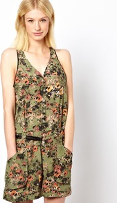 Mesh Back Jumpsuit In Etched Poppies Print - neckline: v-neck; sleeve style: sleeveless; hip detail: side pockets at hip; waist detail: belted waist/tie at waist/drawstring; bust detail: buttons at bust (in middle at breastbone)/zip detail at bust; length: mid thigh shorts; predominant colour: khaki; occasions: casual, evening, holiday; fit: body skimming; fibres: silk - 100%; sleeve length: sleeveless; texture group: silky - light; style: playsuit; pattern type: fabric; pattern size: small & busy; pattern: florals