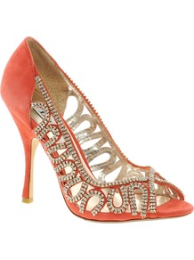 Divine D Coral Suede And Diamante Heeled Shoe - predominant colour: coral; occasions: evening, occasion; material: suede; heel height: high; embellishment: crystals; heel: stiletto; toe: open toe/peeptoe; style: courts; finish: plain; pattern: plain