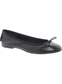 Classic Black Ballet Flats - predominant colour: black; occasions: casual; material: leather; heel height: flat; toe: round toe; style: ballerinas / pumps; finish: plain; pattern: plain; embellishment: bow