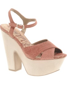 Corbin Leather Heeled Sandal - predominant colour: terracotta; occasions: casual, evening, occasion; material: leather; heel height: high; ankle detail: ankle strap; heel: platform; toe: open toe/peeptoe; style: standard; finish: plain; pattern: animal print
