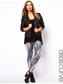Curve Legging In Tie Dye Print - length: standard; style: leggings; waist detail: elasticated waist; waist: mid/regular rise; predominant colour: charcoal; occasions: casual; fibres: polyester/polyamide - stretch; texture group: jersey - clingy; fit: skinny/tight leg; pattern type: fabric; pattern size: small &amp; busy; pattern: patterned/print