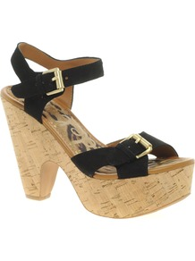 Warner Buckled Leather Sandals - predominant colour: black; occasions: casual, holiday; material: leather; heel height: high; embellishment: buckles; ankle detail: ankle strap; heel: platform; toe: open toe/peeptoe; style: standard; finish: plain; pattern: plain