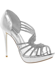 Hearty Leather Heeled Sandal With Diamante Detail - predominant colour: silver; occasions: evening, occasion; material: leather; heel height: high; embellishment: crystals; heel: platform; toe: open toe/peeptoe; style: strappy; trends: metallics; finish: metallic; pattern: plain