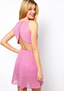 Dress With Open Back - length: mid thigh; sleeve style: standard vest straps/shoulder straps; fit: empire; pattern: plain; style: sundress; waist detail: fitted waist; back detail: low cut/open back; predominant colour: lilac; occasions: casual, evening, occasion; neckline: scoop; fibres: polyester/polyamide - 100%; sleeve length: sleeveless; texture group: sheer fabrics/chiffon/organza etc.; pattern type: fabric