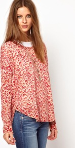 Leopard Cashmere Jumper - neckline: round neck; style: standard; predominant colour: true red; occasions: casual; length: standard; fit: loose; fibres: cashmere - 100%; sleeve length: long sleeve; sleeve style: standard; texture group: knits/crochet; pattern type: fabric; pattern size: small & busy; pattern: animal print