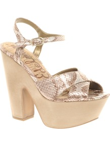Corbin Leather Heeled Sandal - predominant colour: stone; occasions: casual, evening, holiday; material: leather; heel height: high; embellishment: buckles; ankle detail: ankle strap; heel: platform; toe: open toe/peeptoe; style: strappy; finish: metallic; pattern: animal print