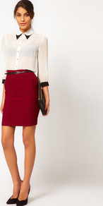 Belted Pencil Skirt - length: mid thigh; pattern: plain; style: pencil; fit: tailored/fitted; waist detail: belted waist/tie at waist/drawstring; waist: mid/regular rise; predominant colour: burgundy; occasions: casual, evening, work; fibres: polyester/polyamide - 100%; texture group: jersey - clingy