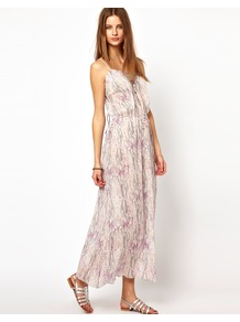 Printed Cotton Voile Maxi Dress - neckline: low v-neck; sleeve style: spaghetti straps; style: maxi dress; back detail: tie detail at back; waist detail: belted waist/tie at waist/drawstring; predominant colour: white; occasions: casual, holiday; length: floor length; fit: body skimming; fibres: cotton - 100%; sleeve length: sleeveless; texture group: cotton feel fabrics; trends: statement prints; pattern type: fabric; pattern size: small & busy; pattern: patterned/print