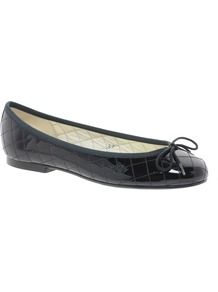 Henrietta Patent Quilted Ballet Flats - predominant colour: black; occasions: casual, work; material: leather; heel height: flat; embellishment: quilted; toe: round toe; style: ballerinas / pumps; finish: patent; pattern: plain
