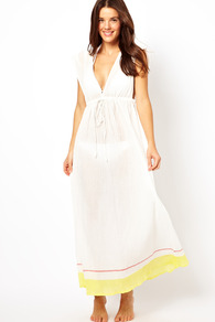 Super Sun Sleeveless Maxi Dress - neckline: low v-neck; fit: empire; pattern: plain; sleeve style: sleeveless; style: maxi dress; waist detail: fitted waist; back detail: low cut/open back; predominant colour: white; occasions: casual, holiday; length: floor length; fibres: cotton - 100%; sleeve length: sleeveless; pattern type: fabric; pattern size: standard; texture group: other - light to midweight
