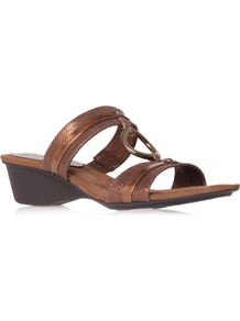 Olalla6 - predominant colour: bronze; occasions: casual, holiday; material: leather; heel height: mid; heel: wedge; toe: open toe/peeptoe; style: slides; trends: metallics; finish: metallic; pattern: animal print; embellishment: chain/metal