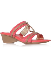 Olalla6 - predominant colour: coral; occasions: casual, holiday; material: leather; heel height: mid; heel: wedge; toe: open toe/peeptoe; style: slides; finish: plain; pattern: patterned/print; embellishment: chain/metal
