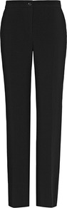 Lyonaise Eve Straight Leg Trousers - length: standard; pattern: plain; waist: mid/regular rise; predominant colour: black; occasions: evening, work; fibres: viscose/rayon - stretch; texture group: crepes; fit: straight leg; pattern type: fabric; pattern size: standard; style: standard