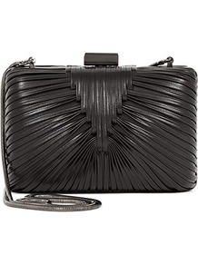 Riley Woven Detail Clutch - predominant colour: charcoal; occasions: evening, occasion; style: clutch; length: hand carry; size: small; material: leather; embellishment: pleated; pattern: plain; finish: plain