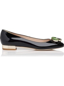 Minka Patent Leather Jewel Detail Flat Black - predominant colour: black; occasions: evening, work, occasion; material: leather; heel height: flat; embellishment: jewels; toe: round toe; style: ballerinas / pumps; finish: patent; pattern: plain