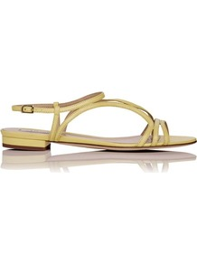 Lennie Leather Flat Sandal Yellow Lemon - predominant colour: primrose yellow; occasions: casual, evening, holiday; material: leather; heel height: flat; ankle detail: ankle strap; heel: standard; toe: open toe/peeptoe; style: strappy; finish: plain; pattern: plain